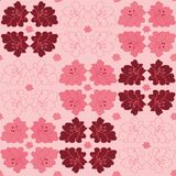 Geometric vector pattern with lilies flowers on pink stock illustration