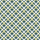 Geometric Seamless Vector Pattern. Geometric vector ornament with colorful elements. Seamless fine pattern. White and golden grills and green background Royalty Free Stock Image