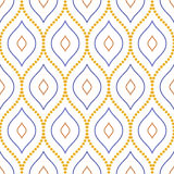 Geometric Seamless Vector Pattern. Seamless vector ornament. Modern background. Geometric pattern with repeating dotted wavy lines Royalty Free Stock Photo