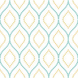 Geometric Seamless Vector Pattern. Seamless vector ornament. Modern background. Geometric pattern with repeating light blue and golden dotted wavy lines Royalty Free Stock Photo