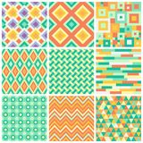 Geometric seamless vector patterns Royalty Free Stock Images