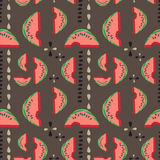 Geometric seamless vector watermelon pattern Royalty Free Stock Images