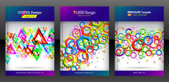Geometric set of hexagon, triangle and round shapes brochure stock illustration