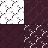 Geometric set of maroon seamless patterns for design. Geometric seamless patterns. Set of maroon backgrounds for wallpapers and fabrics. Vector illustration Stock Image