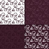 Geometric set of maroon seamless patterns for design. Geometric seamless patterns. Set of maroon backgrounds for wallpapers and fabrics. Vector illustration Stock Photo