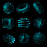 Geometric Shape 3D Technology Style Icon Set. Blue color realistic geometric shape 3D technology style set on black background vector illustration Royalty Free Stock Photo