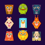 Geometric Shape Flat Cartoon Animals Set Of Colorful Cartoon  Vector Stickers. Childish Friendly Emoji Fauna Characters With Friendly Faces Royalty Free Stock Photography
