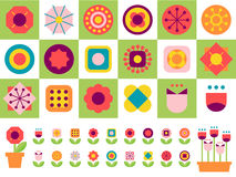 18 geometric shape flower elements. Geometric flower set,happy flower Royalty Free Stock Photos