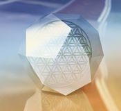 Geometric Shape Tetrahedron with Symbol of  Flower of Life inside Royalty Free Stock Images