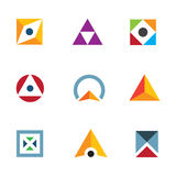 Geometric shape triangle circle and cube inspiring combination logo icon Stock Image