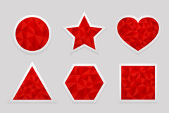Geometric shape from triangles. Set of red labels. In the shapes of circle, star, heart, triangle, hexagon and square - vector illustration Stock Image