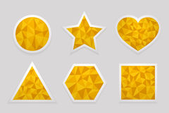 Geometric shape from triangles. Set of yellow labels. Geometric shape from triangles. Set of yellow  labels in the shapes of circle, star, heart, triangle Royalty Free Stock Images