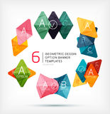 Geometric shaped option banners collection. Abstract shapes - stylized geometric shaped option banners. For business / technology design templates, presentations Stock Image