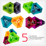 Geometric shaped option banners collection. Abstract shapes - stylized geometric shaped option banners. For business / technology design templates, presentations Royalty Free Stock Photos