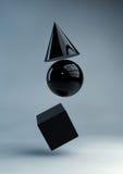 Geometric shapes. Render of black geometric shapes Royalty Free Stock Photos