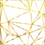Geometric shapes. Abstract gold outline of polygon background. Gold glitter triangles. Vector illustration. Royalty Free Stock Photo