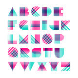 Geometric shapes alphabet made of crossed lines vector illustration