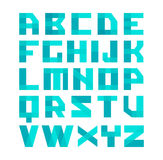 Geometric shapes blue font alphabet. Overlay transparent style letters. Easy color tint ability. On white background Royalty Free Stock Photos