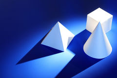 Geometric Shapes On Blue Royalty Free Stock Images