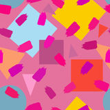Geometric shapes and brush strokes. Colorful seamless pattern. Stock Photos