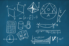Composite image of geometric shapes with calculator Royalty Free Stock Images