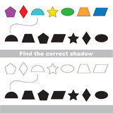 Geometric shapes colorful set. Find correct shadow. Stock Image