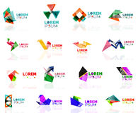 Geometric shapes company logo set, paper origami Stock Images
