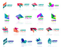 Geometric shapes company logo set, paper origami Royalty Free Stock Images