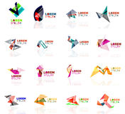 Geometric shapes company logo set, paper origami Stock Photos