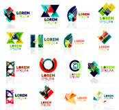 Geometric shapes company logo set, paper origami Royalty Free Stock Photos