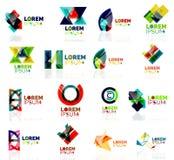 Geometric shapes company logo set, paper origami Royalty Free Stock Photos
