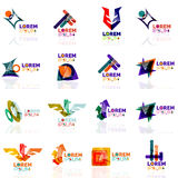 Geometric shapes company logo set, paper origami Stock Images