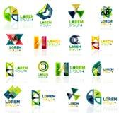 Geometric shapes company logo set, paper origami Royalty Free Stock Photo