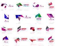 Geometric shapes company logo set, paper origami Stock Photo