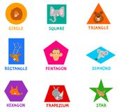 Geometric shapes with cute animal characters Stock Images