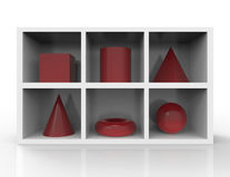 Geometric shapes. 3d render of geometric shapes on the shelves Stock Photo