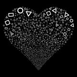 Geometric Shapes Fireworks Heart. Geometric Shapes fireworks with heart shape. Raster illustration style is flat white iconic symbols on a black background Royalty Free Stock Photo