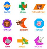 Geometric shapes with funny animal characters Royalty Free Stock Image