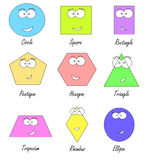 Geometric shapes with funny faces Stock Photos