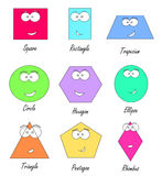 Geometric shapes with funny faces Royalty Free Stock Photography