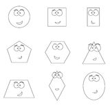 Geometric shapes with funny faces vector Royalty Free Stock Images