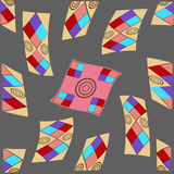 Geometric shapes on a gray background. Multicolored geometric figure with a pattern on a dark gray background Royalty Free Illustration