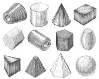 Geometric shapes by hand Stock Photo