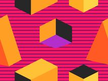 Geometric shapes in isometric style. Futuristic seamless pattern. Retrowave. Vector stock illustration