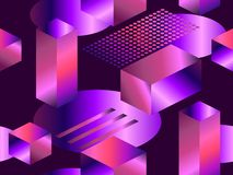 Geometric shapes in isometric style with gradient. Futuristic seamless pattern. Retrowave. Vector royalty free illustration