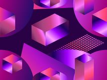 Geometric shapes in isometric style with gradient. Futuristic seamless pattern. Retrowave. Vector stock illustration