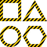 Geometric Shapes Layout With Warning Yellow And Black Stripes Stock Photos