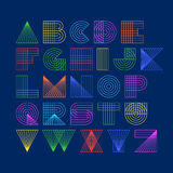 Geometric shapes linear alphabet Royalty Free Stock Photography