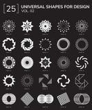 Geometric Shapes Logo. Set 25 Universal Geometric Shapes For Design Black And White Color Royalty Free Stock Photo