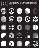 Geometric Shapes Logo. Set 25 Universal Geometric Shapes For Design Black And White Color Stock Photography